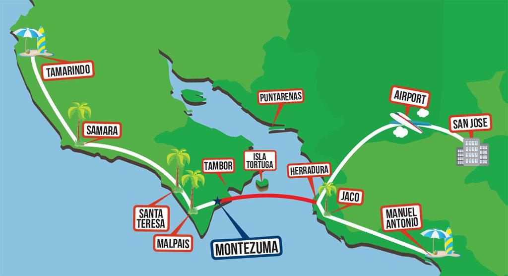 Montezuma Jaco Taxi Boat Map 2016 Zuma Tours