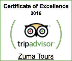 Zuma Tours - TripAdvisor 2016 Certificate of Excellence